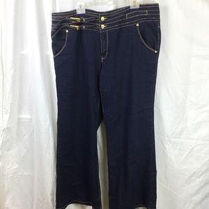 X Yoy sz 20 dark wash jeans double buckle